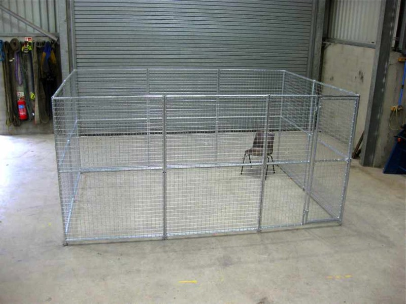 Large Dog Run Pack. Finished size 3.8m x 2.5m (approx. 12ft x 8ft). Height 1.8m (6ft.). *Kennel not included. Sturdy construction using 25x25mm box section framing covered with 50x50x3mm weldmesh. Hot dip galvanised for lifetime rust protection. Bottom of panels are raised off the ground to stop bacterial growth and to ease cleaning. Comes complete with gate and all bolts.  Can be easily erected in around 30 minutes with no special tools or skills required.