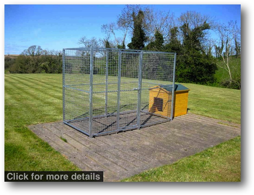 Small Dog Run Pack. Finished size 2.5m x 1.25m (approx. 8ft x 4ft). Height 1.8m (6ft.). *Kennel not included. Sturdy construction using 25x25mm box section framing covered with 50x50x3mm weldmesh. Hot dip galvanised for lifetime rust protection. Bottom of panels are raised off the ground to stop bacterial growth and to ease cleaning. Comes complete with gate and all bolts.  Can be easily erected in around 30 minutes with no special tools or skills required.