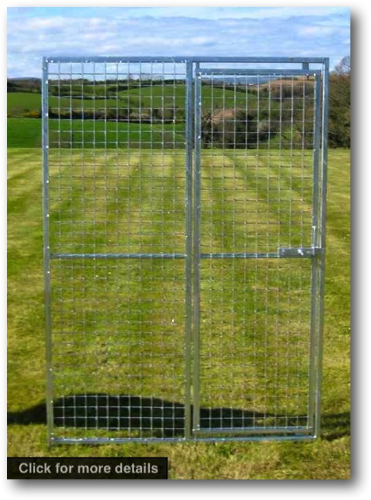 Gate Panel. 1.25m wide x 1.8m high (approx. 4ft wide x 6ft high). Sturdy construction using 25x25mm box section framing covered with 50x50x3mm weldmesh. Hot dip galvanised for lifetime rust protection. Bottom of panels are raised off the ground to stop bacterial growth and to ease cleaning.  Can be easily erected with no special tools or skills required. Bolts included.