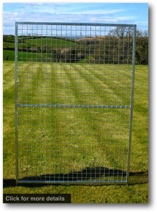 Standard Panel. 1.25m wide x 1.8m high (approx. 4ft wide x 6ft high). Sturdy construction using 25x25mm box section framing covered with 50x50x3mm weldmesh. Hot dip galvanised for lifetime rust protection. Bottom of panels are raised off the ground to stop bacterial growth and to ease cleaning.  Can be easily erected with no special tools or skills required. Bolts included.